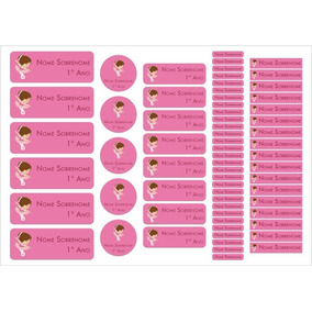 Kit Etiquetas Adesivas Personalizada Material Escolar Menina