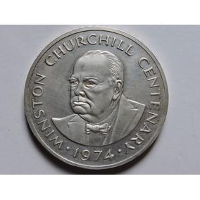 Turks And Caicos 20 Crowns Churchill 38,7 Gr Prata 925