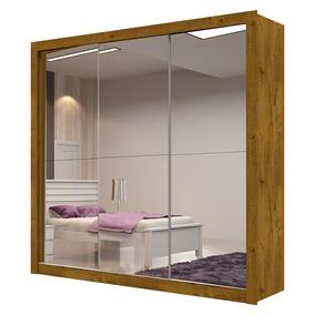 Guarda-roupa Veneza Plus Com Espelho - 3 Portas - Canela