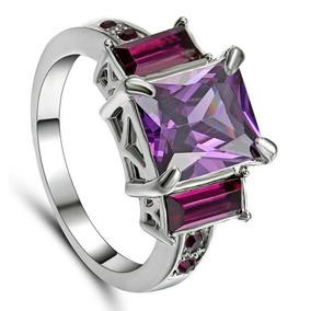 Anillo De Compromiso De Amatista Cz Púrpura # 9