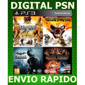 Combo Ps3 Mk 9 Twisted Metal Saint Row Batmam Psn Envio Já