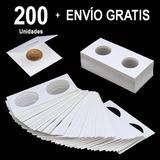 200 Unidades - Cartones Porta Monedas 17mm A 40mm Blanco