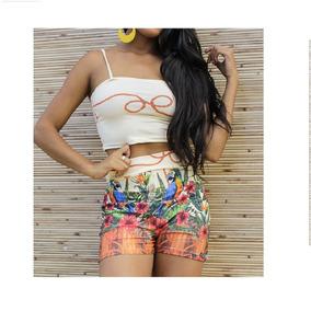 Conjunto Cropped Short Cintura Alta Roupas Femininas Barata