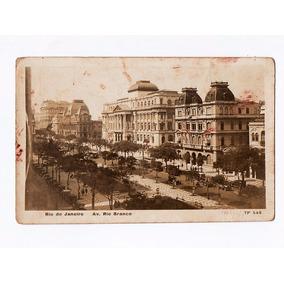 Cartao Postal Avenida Rio Branco - Rio De Janeiro Anos 20