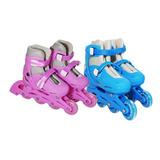 Patins Masculino Feminino 4 Rodas Ajustável Azul Rosa Bw018