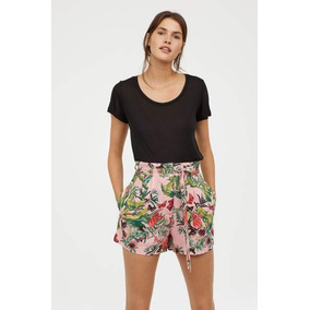 Shorts Floral Tropical Rosa Coral Elegante Casual Ropa Mujer