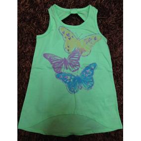 Blusa Verde Para Niña Con Mariposas