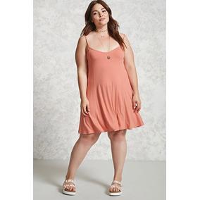 Forever 21 Plus Size Vestido Holgado Tirantes Coral Rosa 1xl