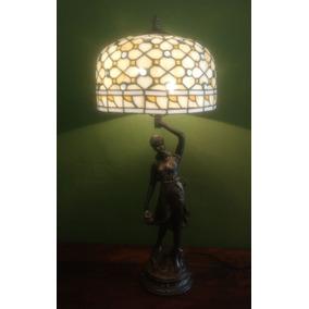 Abajur Dama Bronze Com Cupula Tiffany ( Cod Dat12318 )
