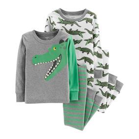 Carters Set 4 Piezas Conjunto Pijama Osito Cocodrilo Nenes