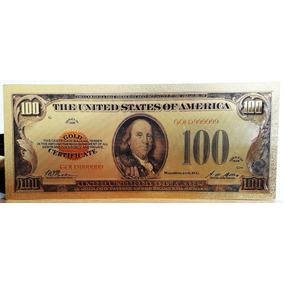 Estados Unidos Billete De 100 Dólares Con Baño De Oro