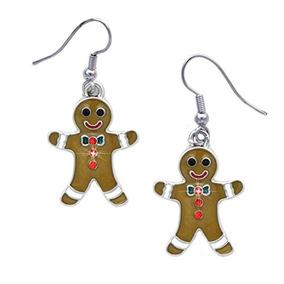 Cocojewelry Gingerbread Man Charm Cuelga Aretes Joyas Navide