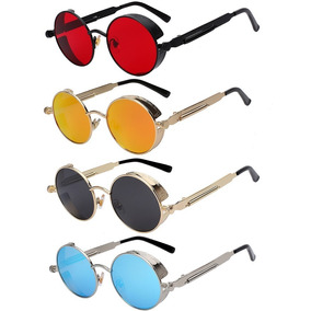 Óculos De Sol Redondo Retrô Vintage Steampunk - Várias Cores 88516e8537