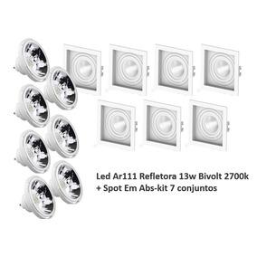 Led Ar111 Refletora 13w Bivolt 2700k + Spot Em Abs-kit 7conj