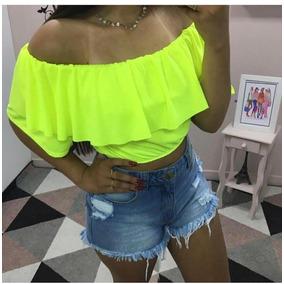 Blusa Ciganinha Ombro A Ombro Neon