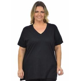 Blusa Básica Gola V Maior Plus Size 47125 100% Algodão