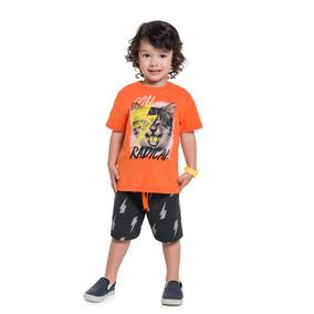 Roupas Infantil Menino Boca Grande Camisa E Bermuda Moletom