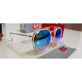 b7ba72f211dcf Oculos Redondo Espelhado Azul Rayban - Óculos De Sol no Mercado ...