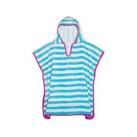 3c4g Stripes Terry Cotton Poncho Cover Up, Striped