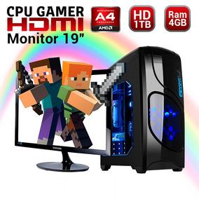 Cpu Gamer Minecraft Amd A4 Disco 1tb Ram 4gb Monitor 19