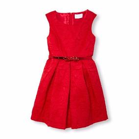 Vestido Tono Rojo Con Cinturón Children