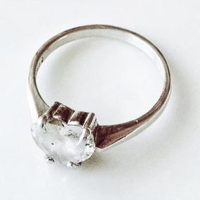 Anillo Solitario Con Diamante Corazón En Plata .925 Talla 7