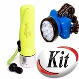 Kit Lanterna Mergulho Pesca Caça + Lanterna De Cabeça Oferta
