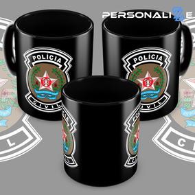 Caneca Policia Civil De Minas Gerais De Porcelana Preta
