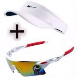 Kit 1 Viseira + Óculos Solar Esporte Vôlei Praia Liquidação
