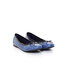 Ballerinas De Mujer Via Uno 11810255 Croco Charol Azul Negro