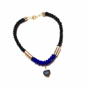 Collar Artesanal Tejido Chaquiron Negro Y Cristales En Azul