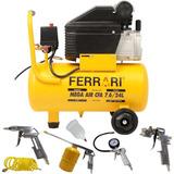 Compressor Ar Mega Air 7,6pés 24 Litros Ferrari Bivolt + Kit