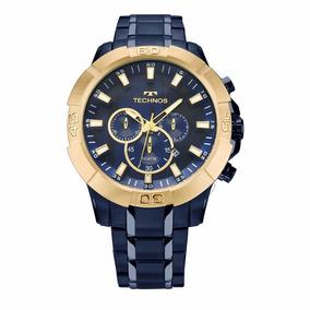 Lindo Relógio Technos Pulseira Aço Inox Azul Marinho 52mm