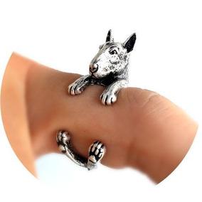 Anillo Perro Bull Terrier Ajustable Vintage Detallado