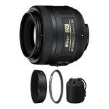 Lente Nikon 35mm Af-s Dx Nikkor F/1.8g Con Parasol + Funda
