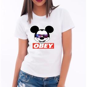 Camisa Camiseta Baby Look Feminina Mickey Obey Fofo Tumbrl 2b346d4a31d
