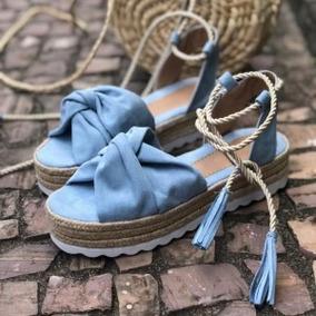 Sandália Flatform Corda Amarração Blue