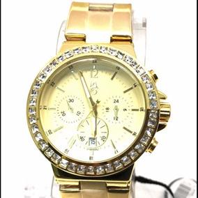 7e5c6d73600 Relógio Atlantis Feminino Dourado Com Pedras Strass - Joias e ...