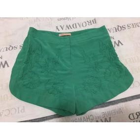 Shorts Feminino Verde Com Bordados Tam 36