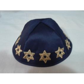 e9587bb7236a6 1 Kipá Judaico Marinho Estrelas De David Ao Redor + 2 Kipás