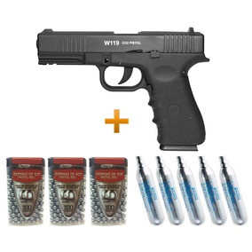 Pistola Gas Co2 Glock W119 Blowback 4.5 Wg 05 Co2 + 900 Bbs