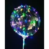 10 Balão De Led Bola De Luz + Vareta Haste Pilha P/ Revenda