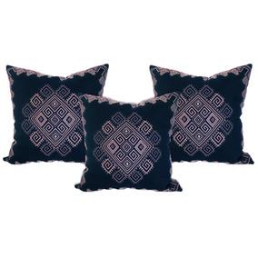 Set De 3 Cojines Decorativos 45x45 - Ocentli Azul Rosa