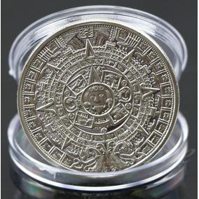 Moeda Banhada Prata Prateada Calendário Asteca Maia Com Case