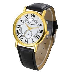 Relógio Feminino Geneva Algarismos Roman Pulseira Couro Pu