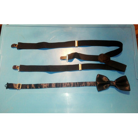 Set Corbata De Moño Tirantes Negros Nuevo Y Con Envío Gratis