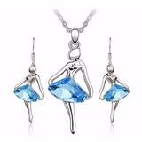 Conjunto Colar E Brincos De Bailarina Com Pedra Azul