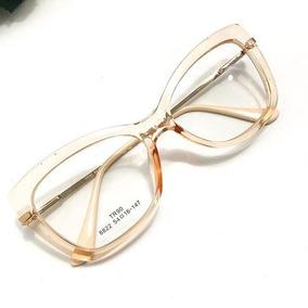 Armacao De Oculos Retangular - Óculos Dourado no Mercado Livre Brasil f1c02043ad