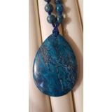Colar Longo Pingente Grande Jaspe Azul Pedras Naturais