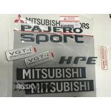Kit 6 Emblemas Pajero Sport Hpe Originais Mitsubishi Grafite